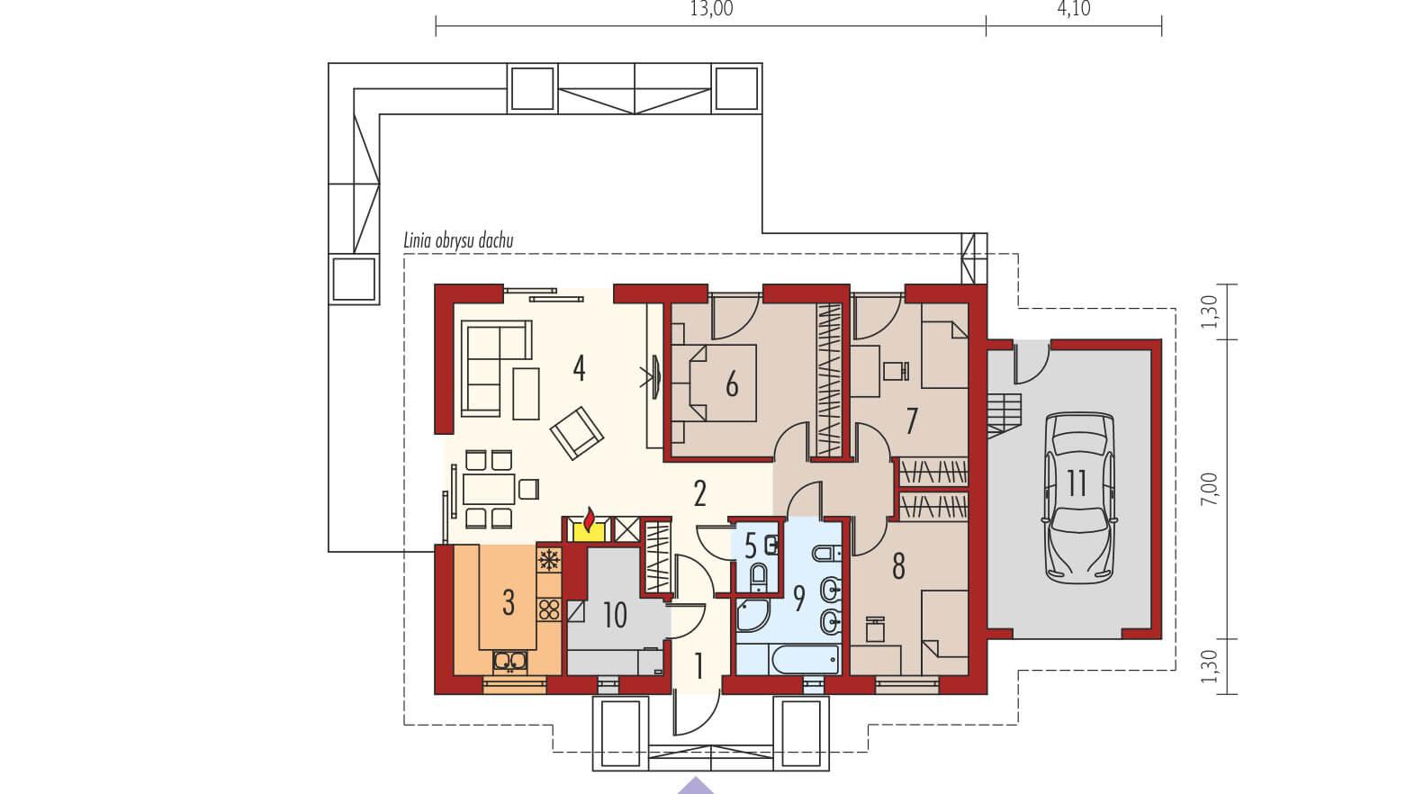 projekt rodinného domu bungalov 183