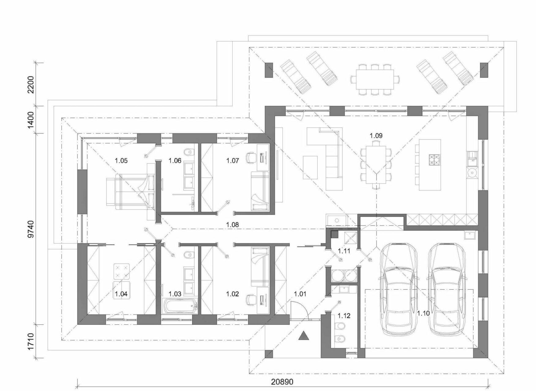 projekt rodinného domu style 225