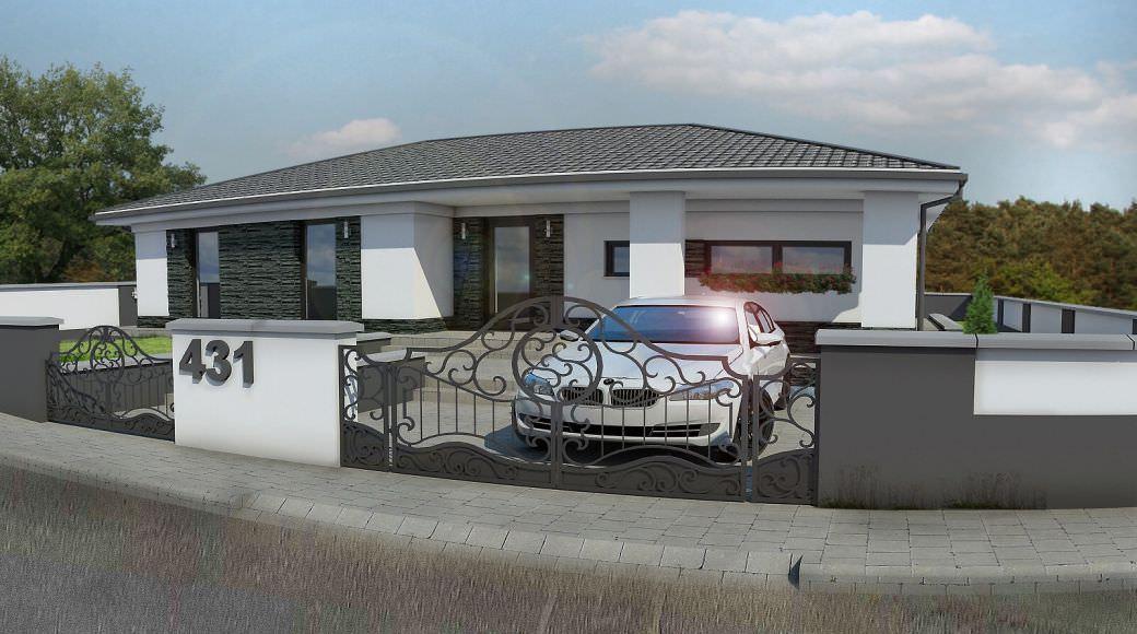 projekt rodinného domu bungalov 96